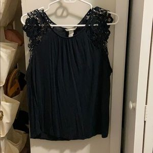 H & M Navy blue lace sleeve top size large